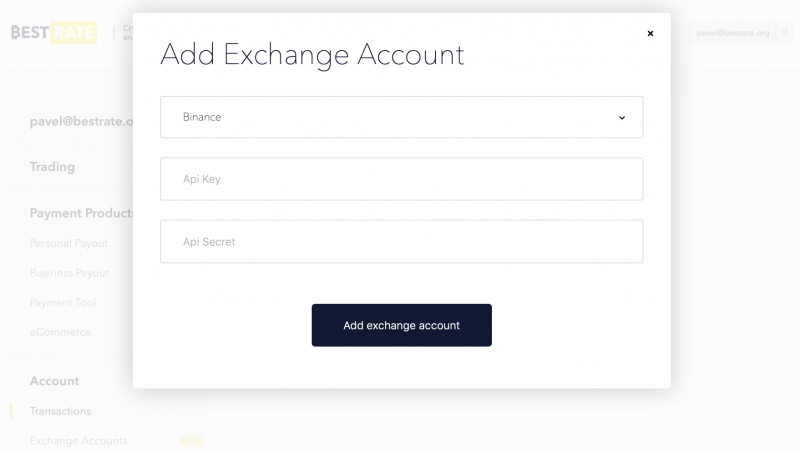 adding Binance API keys