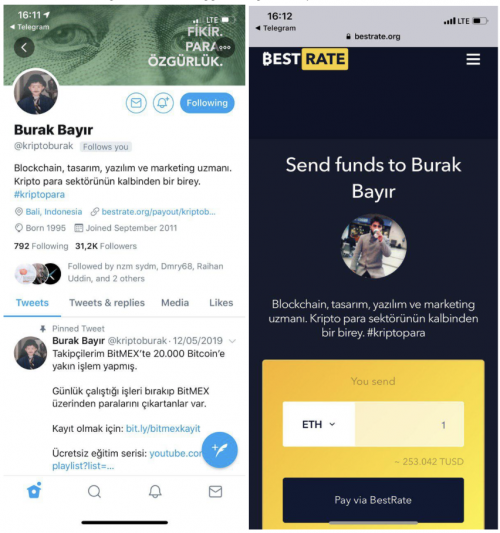 BestRate's hosted page for crypto payments